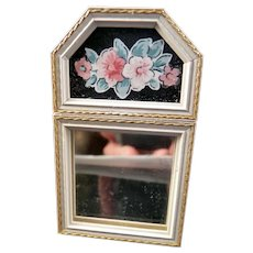 Vintage Wooden Floral MIRROR 1:12 Dollhouse Miniature