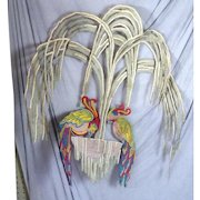 Stunning Antique 1910s-1920 Embroidered Curtain Panel Parrots Bed Cover Chinese?