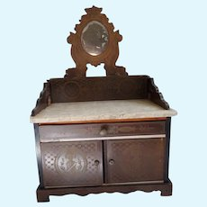 "Antique 19th Century German Large 11"" Tall Biedermeier Boulle SIDEBOARD Doll or Dollhouse Miniature Furniture"