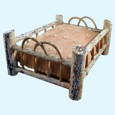 Antique German BED Wood Rustic 1:12 Dollhouse Miniature