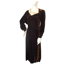 Lovely 1930s Vintage BROWN VELVET Asymetric Neckline Dress