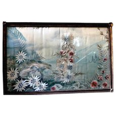 19th Century Framed Silk Embroidered Painting Floral Italian Victorian