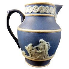"Antique 19th Century Wedgwood Miniature 2.5"" JASPERWARE VASE Cobalt Dollhouse"