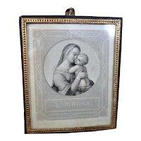 Antique 19th Century Mary & Jesus FRAMED PRINT Dollhouse Miniature