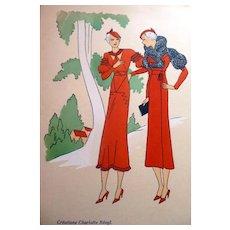 RARE 1930s Art Deco Pochoir Fashion Clothing Hand Painted Print CHARLOTTE REVYL