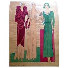 RARE 1930s Art Deco Pochoir Fashion Clothing Hand Painted Print Designer Lenief