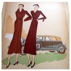 RARE 1930s Art Deco Pochoir Fashion Clothing Hand Painted Print Designer PATOU