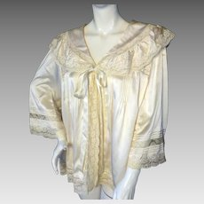 EXCEPTIONAL VTG 1940s French Silk & Lace Bedjacket Wedding Unused