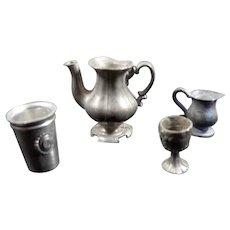 Antique c.1900 German Metal LOT Teapot Pitcher Goblet 1:12 Dollhouse Miniature