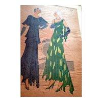 RARE 1930s Art Deco Pochoir Fashion Dress Hand Painted Print Paris Designer Lucile Paray