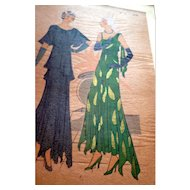 RARE 1930s Art Deco Pochoir Fashion Dress Hand Painted Print Paris Designer Lucile Paray