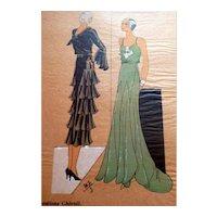 RARE 1930s Art Deco Pochoir Fashion Dress Hand Painted Print Paris Designer Cheruit