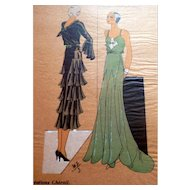 RARE 1930s Art Deco Pochoir Fashion Dress Hand Painted Print Paris Designer Cheruit