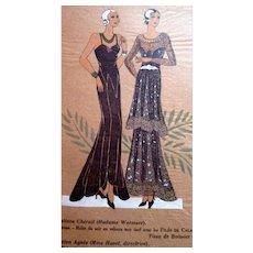 RARE 1930s Art Deco Pochoir Fashion Dress Hand Painted Print Paris Designers Cheruit & Agnes