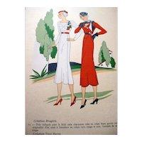 RARE 1930s Art Deco Pochoir Fashion Clothing Hand Painted Print Paris Designers BRUYERE & VERA BOREA