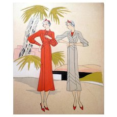 RARE 1930s Art Deco Pochoir Fashion Clothing Hand Painted Print JEAN PATOU Paris Designer