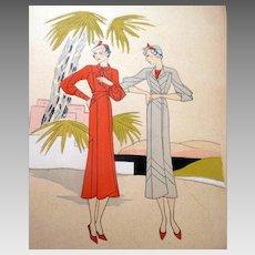 RARE 1930s Art Deco Pochoir Fashion Clothing Hand Painted Print JEAN PATOU Paris Designer