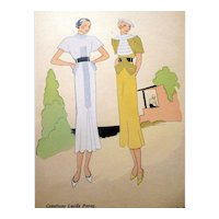 RARE 1930s Art Deco Pochoir Fashion Clothing Hand Painted Print LUCILE PARAY