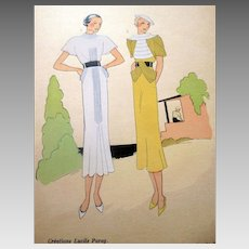 RARE 1930s Art Deco Pochoir Fashion Clothing Hand Painted Print LUCILE PARAY