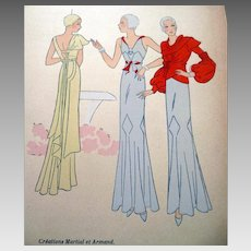 RARE 1930s Art Deco Pochoir Fashion Clothing Hand Painted Print Martial et Armand Paris Designer