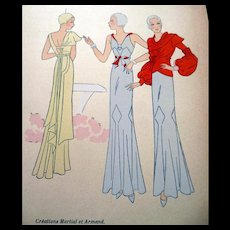 RARE 1930s Art Deco Pochoir Fashion Clothing Hand Painted Print Martial et Armand Paris Designer