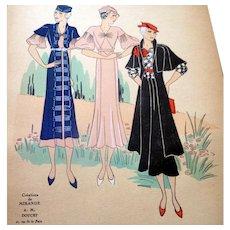 RARE 1930s Art Deco Pochoir Fashion Clothing Hand Painted Print Mirande Doucet Paris Designer