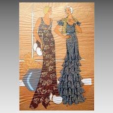 RARE 1930s Art Deco Pochoir Fashion Hand Painted Print DESIGNER LACE