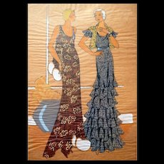 RARE 1930s Art Deco Pochoir Fashion Hand Painted Print DESIGNER LACE