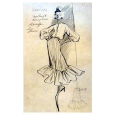 Original 1960s Christian Doir Fashion Stat Sheet Drawing