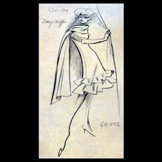 Original 1960s GRIFFE Fashion Stat Sheet Drawing