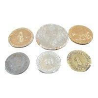 Antique c.1900 German MONEY 6 COIN LOT Dollhouse Miniature