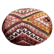 "Superb Vintage Footstool Ottoman Antique Tribal Kilim Rug 22"" x 17"" x 8"""