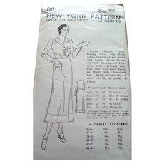 Original Unused 1930s DRESS Nurse's Uniform Sewing Pattern New York Size 42