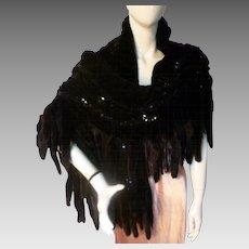 FANTASTIC 1930s Style Ruched Black Velvet Sequin Mink Tail Evening Wrap Stole