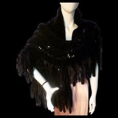 FANTASTIC 1930s Style Ruched Black Velvet Sequin Mink Tail Evening Wrap Stole