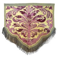 Antique 19TH Century French Continental Valance or Altar Cloth Velvet Metallic Embroidery