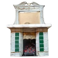 Antique Art Nouveau German Painted Metal & Marble Fireplace c.1900 Dollhouse Miniature
