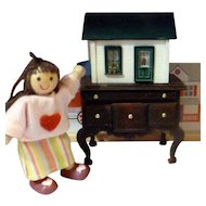 UNIQUE Dollhouse for your Dollhouse!  Extra Small Dollhouse from Museum Display Artist Signed