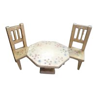 Antique German Dollhouse White Painted Table & Two Chairs 1:12 Scale
