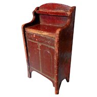 Antique German Gottschalk Dollhouse Miniature Cabinet Red & Gild