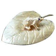 Vintage 1950s Cellino Designer 14K Gold & Ruby FROG Leaf Brooch & Earring Set