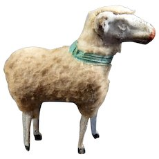 Antique c.1890 German PUTZ SHEEP 1:12 Dollhouse Miniature