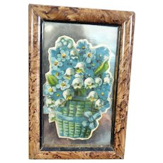 Antique c.1890 PICTURE in PAINTED FRAME 1:12 German Dollhouse Miniature