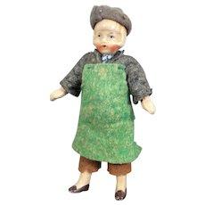"""Antique C. 1910 German 4"""" Composite CHILD Dollhouse Doll Dollhouse Miniature"""