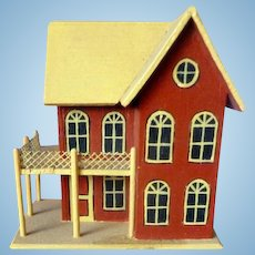 UNIQUE Vintage All wood Dollhouse for your Dollhouse! Extra Small Dollhouse from Museum Display Artist Signed