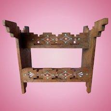 Fantastic Vintage Southwest Native American Painted Western Saddle Rack or Bookcase Dollhouse Miniature
