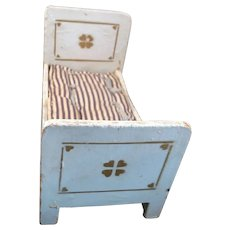 Antique 1890s German GOTTSCHALK BED & MATTRESS 1:12 Dollhouse Miniature