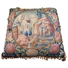RARE Pair of 17th Century Flemish Wool and Silk Figural Floral Tapestry Pillows