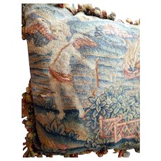 Rare 18th Century English Cherub Angel Wool Gross Point Embroidered Tapestry Pillow