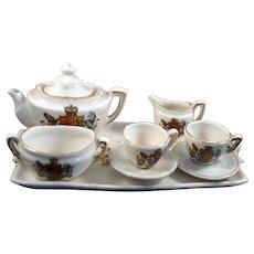 Antique c. 1920 ENGLISH ROYAL DOLL'S TEA SET Porcelain Dollhouse Miniature
